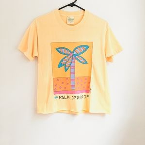 Vintage 90s Yellow Palm Tree Graphic Cropped Tee